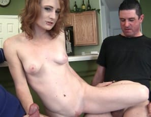 Female muscle porn star Lucy Fire gives one man a hand job