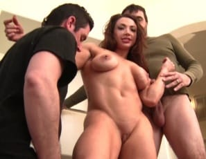 Female bodybuilder BrandiMae is really enjoying her two muscle worshipers