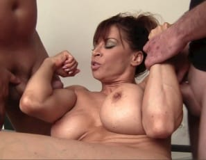 She also gives a hand job, double bicep job, blow job and quad job