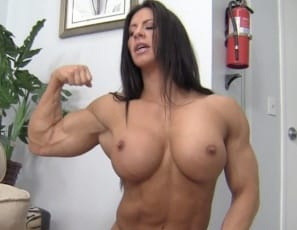 Ripped female bodybuilder Angela Salvagno gets muscle worship from her stepson
