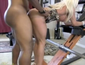 Female bodybuilder and muscle porn star Ashlee Chambers gets penetrated by a BBC