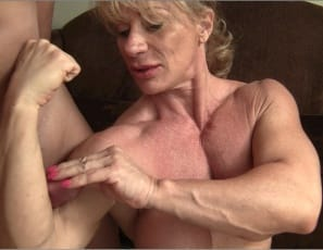 Ripped female bodybuilder Wild Kat's muscle fan club is back in session
