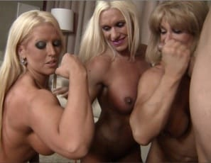 The ripped female bodybuilder threesome continue their reverse gangbang